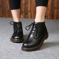 New Vogue Women Super Star Style Round Toe  Lace Up  Knight Oxfords Boots Shoes