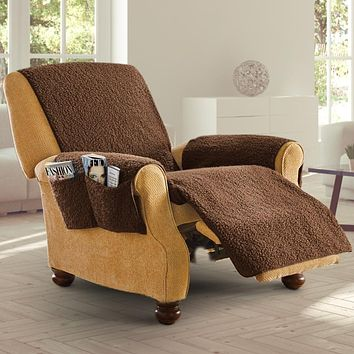 Fleece Recliner Furniture Cover with Pockets