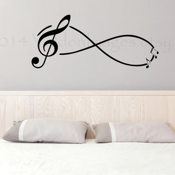 Music note's infinity circle wall decal, wall sticker, home decor, wall graphic, decal, vinyl decal, vinyl graphic decal, wall art