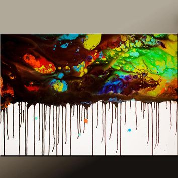 Abstract Canvas Art Contemporary 36x24 Painting by Destiny Womack - dWo - On The Edge