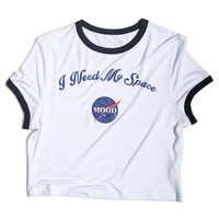White I Need My Space Ringer Cropped Tee