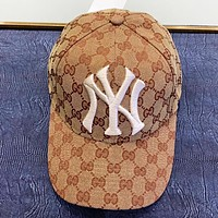 GUCCI & NY New fashion embroidery letter more letter canvas hat cap Khaki