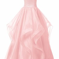 Dresstells reg; Long Prom Dress Asymmetric Bridesmaid Dress Beaded Organza Gown
