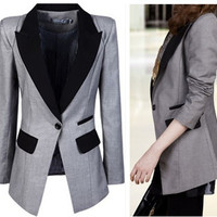 Gray Notched Collar Single Buttoned Blazer Jackets