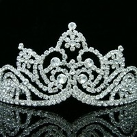 Pageant Bridal Wedding Rhinestone Crystal Flower Tiara Crown