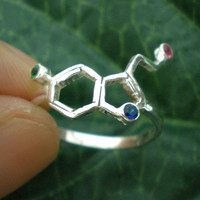 Science Serotonin or Happiness Molecule Silver Ring - Geeky Ring