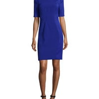 Abrial Mesh-Panel Sheath Dress, Blue, Size: