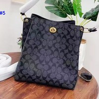 Coach fashion lady's casual bucket bag hot seller printed shopping shoulder bag #5
