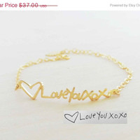 ON SALE Hello February SALE - Personalized Signature/Handwriting Bracelet -Children Handwriting bracelet - Valentines Gift - Ships in 1-2 We