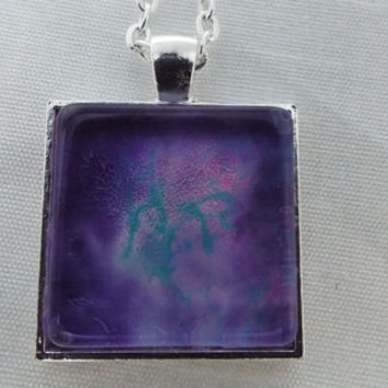 Hand Crafted  Power Purple Square Pendant Necklace   FREE SHIPPING