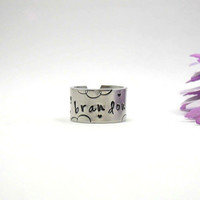 Custom Ring - Personalized Name Ring - Personalized Ring - Handstamped Ring - Name Ring - Mothers Ring - Adjustable Ring - Girlfriend Gift