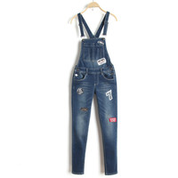 Summer Casual Embroidery Rinsed Denim Slim Stretch Jeans Romper [6332305732]