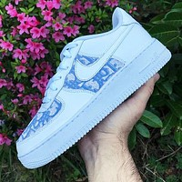 Nike Air Force 1 x Dior Print Contrast Shoes Women Men Trending Shoes White+Blue