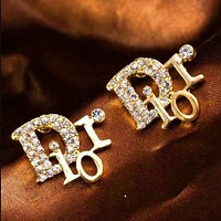 Dior diamond D letter female models wild earrings Gold