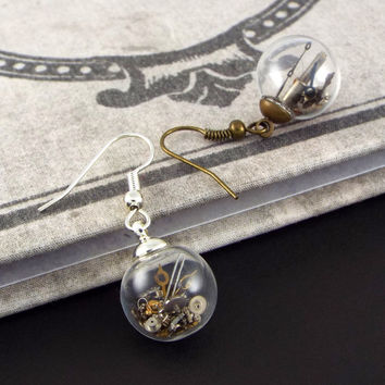 Steampunk Glass Ball Earrings with Gears and Tiny Watch Parts - Silver or Bronze