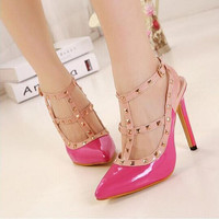 Women Fashion Multicolor Rivet Hollow Buckle Band Shallow Mouth Pointed Toe Sandals Heels Shoes