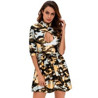 2017 Trending Fashion Floral Printed Hollow Bandage Sexy Floral Printed High Collar Neck Quarter Sleeve Erotic One Piece Dress _ 12715