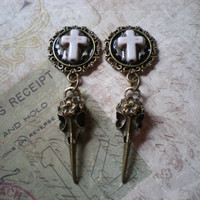 Gothic/ Steampunk bird skull and cross plugs/ gauges/ earrings