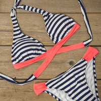 Nautical With A Twist Coral And Navy Striped Bikini