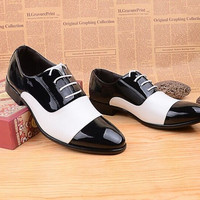 Men's Soft Patent Leather Oxford Dress Shoes Black White