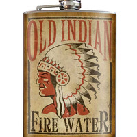 Old Indian Fire Water Flask 8 oz. Stainless Steel