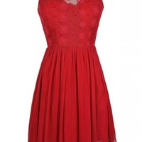 Lily Boutique Red Embroidered Dress, Red A-Line Dress, Red Mesh Dress, Cute Red Dress, Red Party Dress, Red Cocktail Dress, Red Bridesmaid Dress, Cute Christmas Dress, Cute Holiday Dress, Cute Mistletoe Dress, Cute Valentine's Day Dress, Cute Bridesmaid Dr