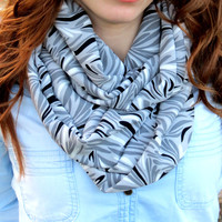 Circle Scarf,Paisley,Grey and Black, Infinity Scarf nice Color Scarf, Circle Scarf Loop Women's Fashion Accessories, Fabric scarves