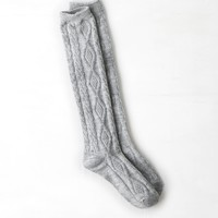 AEO Shimmery Cable Knit Sock, Grey Heather | American Eagle Outfitters