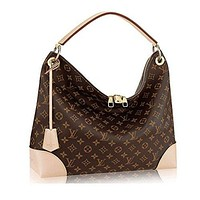 LV Women Shopping Leather Tote Authentic Louis Vuitton Monogram Canvas Berri MM Handbag Article:M41625 Made in France