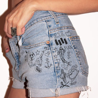 Pop Punk Doodle Cutoff Shorts (Vintage Levi's) / Ironic Artwork / Drawn on Shorts / Drawings on Clothing / Low Rise Denim