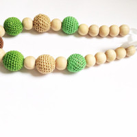 Green and Brown Nursing Necklace, Teething Necklace for mom