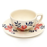 Flowers of Liberty Floral Stenciled Ceramic Cup & Saucer