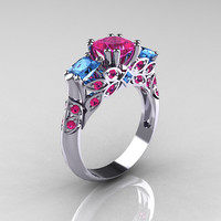 Classic 14K White Gold Three Stone Princess Pink Sapphire Blue Topaz Solitaire Ring R500-14KWGBTPS