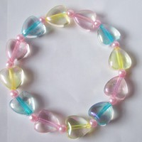 Fairy Sugar - Pastel Rainbow Iridescent Hearts Stretch Bracelet with Pink Glass Pearls from On Secret Wings
