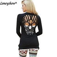 Black Skull Hollow Out Women Sweaters Knitted Long Sleeve Cardigans Spring Summer Thin Cardigans Sexy Blusas Mujer Plus Size