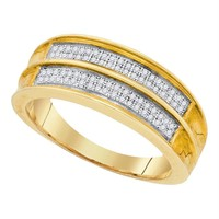 Men's .925 Sterling Silver Yellow Pave Diamond Engagement Wedding Ring Band 1/5CT