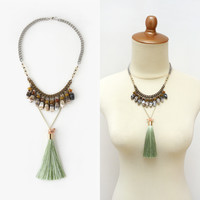 Banded Agate Bib Statement Necklace with Long Green Tassel, Fashionista Jewelry
