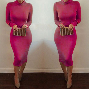 Women's Stylish Rose Red Long Sleeve Bandage Turtle Neck Bodycon Solid Formal Dress
