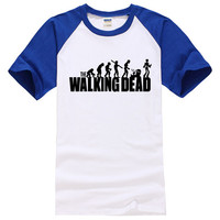 2016 New Summer 100% Cotton Men t shirt Casual Fitness brand Clothing Tops Tees male Mens man the walking dead Printed T-shirt