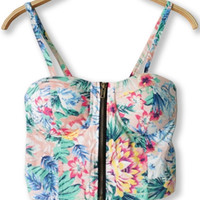 Floral Strappy Cropped Corset Tank