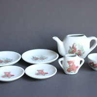 Miniature 7-Pc Porcelain Tea Set Assorted Vintage Teddy Bear Cub Pieces, Plates, Saucers, Cup, Teapot and Sugar Dish