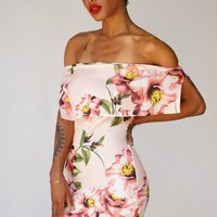 Selah Off The Shoulder Dress - Pink Floral