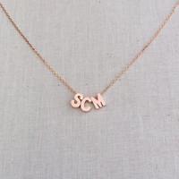 Three Small Personalized Uppercase Block Initials Necklace in Rose Gold with a Dainty Rose Gold Chain