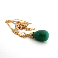 Green emerald necklace, emerald jewelry, May birthstone necklace, kelly green drop necklace, gold emerald pendant, wire wrapped pendant