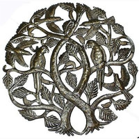 Tree of Life with Parrots 24-inch Metal Art