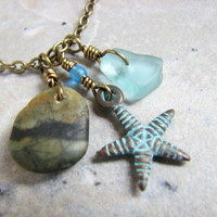 Rustic Copper Patina Starfish Necklace with Ocean Stone and Beach Glass