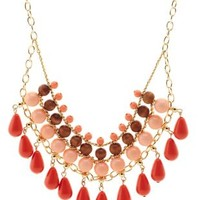 Peach Beaded Statement Bib Necklace by Charlotte Russe