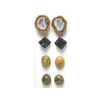Gemstone Mix, Common Opal, Agate Geodes, Brookite, Fossil Dinosaur Gembone, Calibrated Cabochons and Crystals, semiprecious gem stone pairs