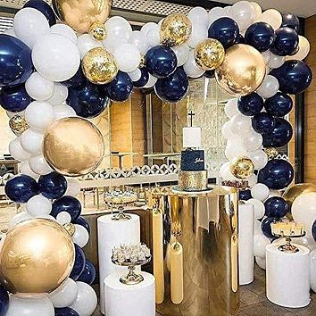 PartyWoo Navy and Gold Balloons, 50 pcs 12 In Navy Blue Balloons, Gold Metallic Balloons, Gold Confetti Balloons and White Balloons for Navy Baby Shower, Blue and Gold Party and Navy Party Decoration