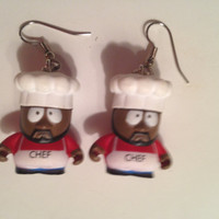 Custom Chef Earrings. Made with Kidrobot South Park Vinyl Collectibles. Original boxes for 1 inch vinyls included with purchase.